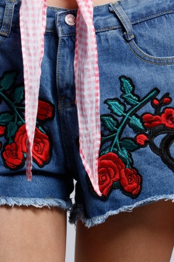 2Xtremz Rose Embroidered Denim Shorts with Button Closure