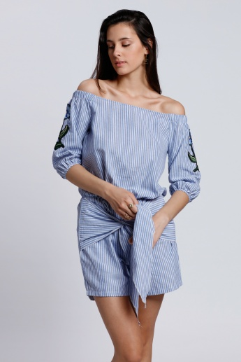 2Xtremz Striped Off Shoulder Playsuit with Tie Up