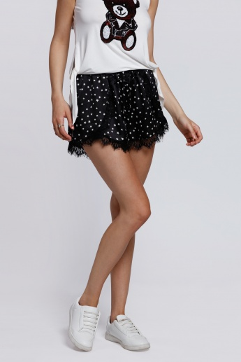2Xtremz Printed Wrap Shorts with Lace Hem
