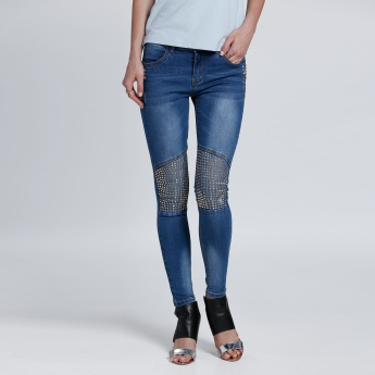 Embellished Full Length Jeans in Skinny Fit
