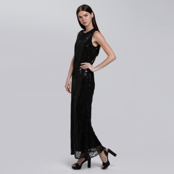 Sequin Sleeveless Maxi Dress with Round Neck