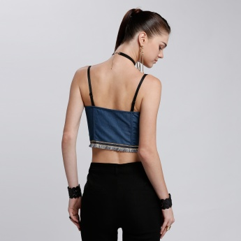 Strapless Denim Top with Zip Closure