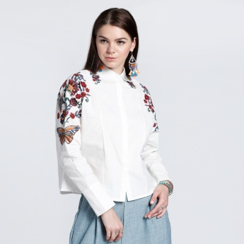 Embroidered Shirt with Long Sleeves