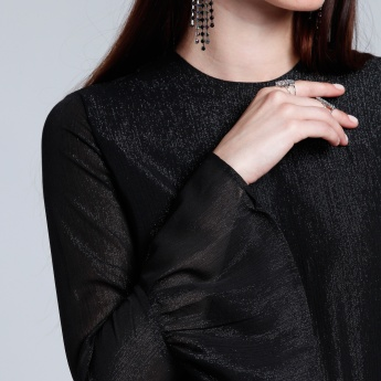 Textured Top with Bell Sleeves and Zip Closure