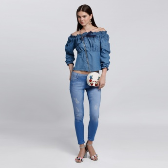 Off-Shoulder Denim Top with Embroidery