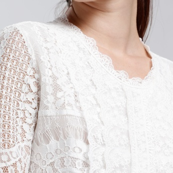 Long Sleeves Lace Top with Key Hole Closure