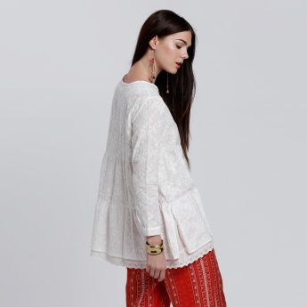 Embroidered Layer Top with Round Neck and Long Sleeves