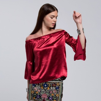 Textured Off Shoulder Top with Flounce Sleeves