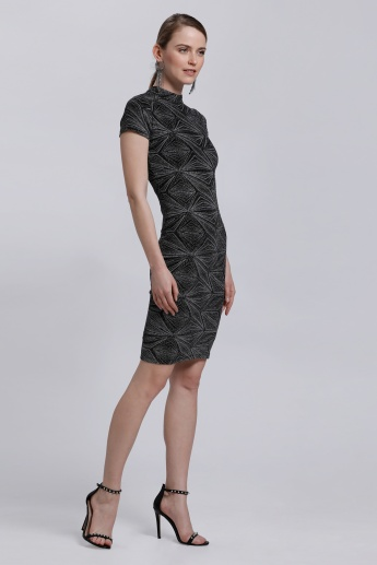 High Neck Textured Dress with Short Sleeves