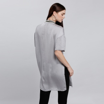 Zippered Slit Top with Short Sleeves