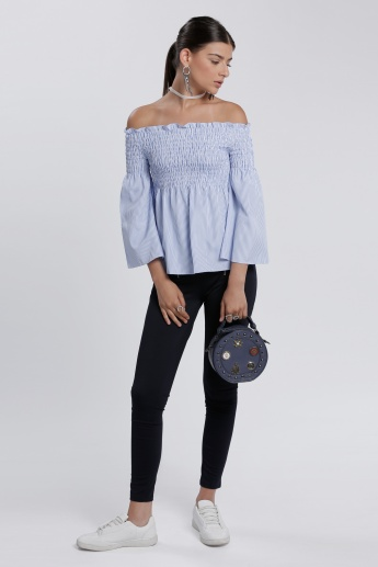 Striped 3/4 Sleeves Top with Off Shoulder in Regular Fit