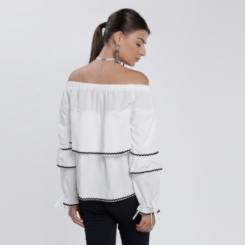 Off Shoulder Layered Top with Long Sleeves