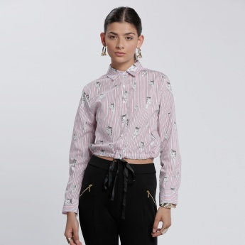 Printed Shirt with Long Sleeves and Elasticised Hem