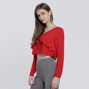 Ruffle Top with V-Neck and Long Sleeves