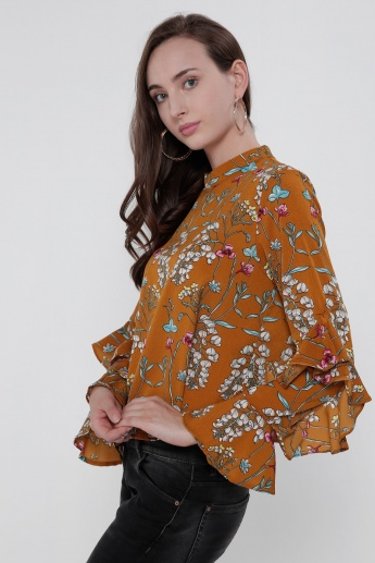 Printed Long Sleeves Top with High Neck