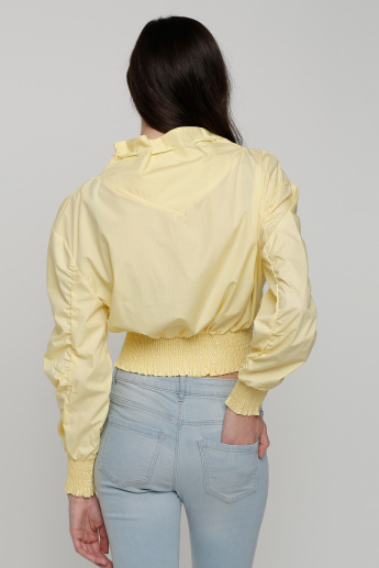Drawstring Closure High Neck Top with Elasticised Hem and Cuffs