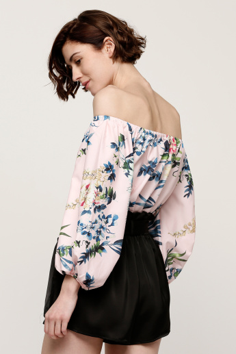 Floral Print Off Shoulder Top with Long Sleeves
