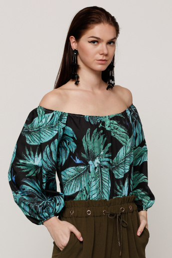 Printed Off Shoulder Top with Long Sleeves
