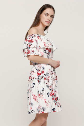 Floral Print Off Shoulder Midi Dress with Pleats