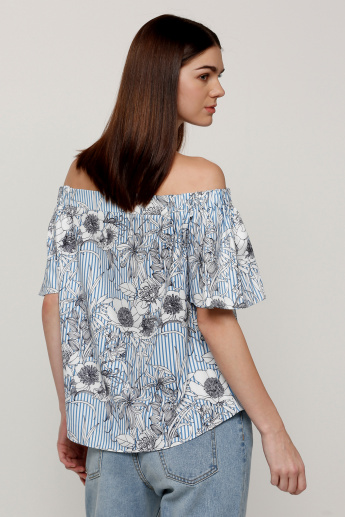 Printed Off Shoulder Top with Short Sleeves