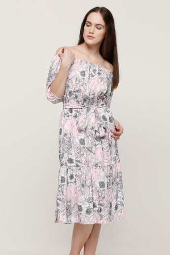 19fb543b5467 Floral Print Off Shoulder Midi Dress with Balloon Sleeves