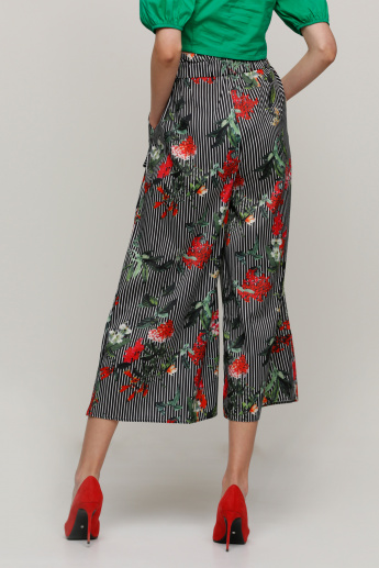 Printed Culottes with Elasticised Waistband and Pocket Detail