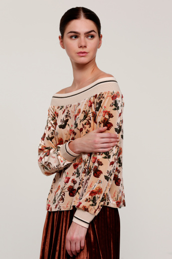 Printed Top with Long Sleeves and Tape Detail