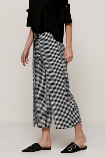 Chequered Wrap Pants with Tie-Up Closure
