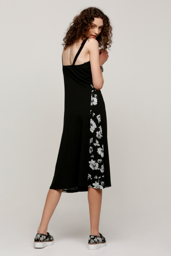 Printed Midi Dress with Broad Straps and Zip Detail