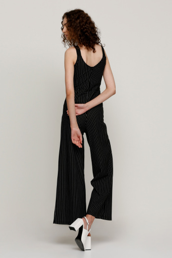 Striped Full Length Jumpsuit with Buckle Detail