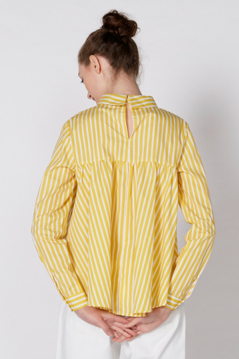 Striped Top with Long Sleeves and Keyhole Closure