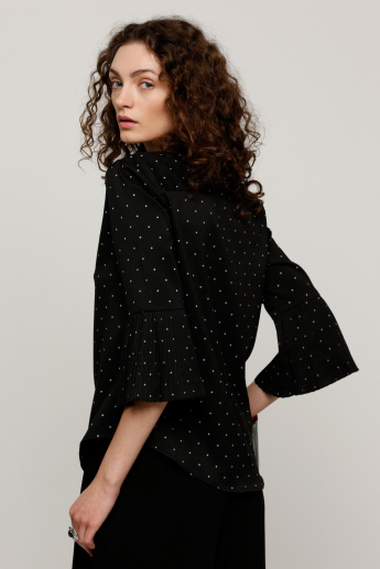 Printed Shirt with 3/4 Sleeves and Pleat Detail