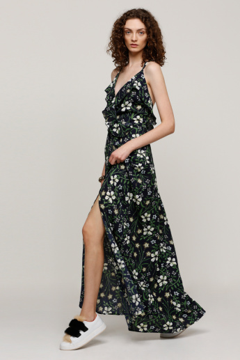 Printed Maxi Dress with Spaghetti Straps and Ruffle Detail