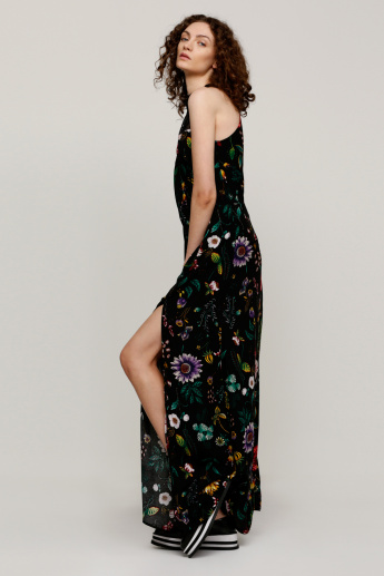 Printed Maxi Dress with Halter Neck and Lace Detail