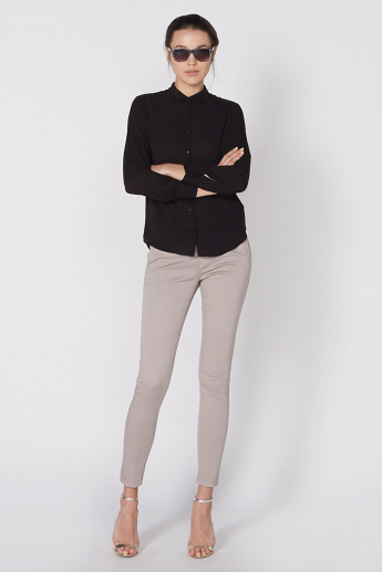 Plain Shirt with Spread Collar and Long Sleeves