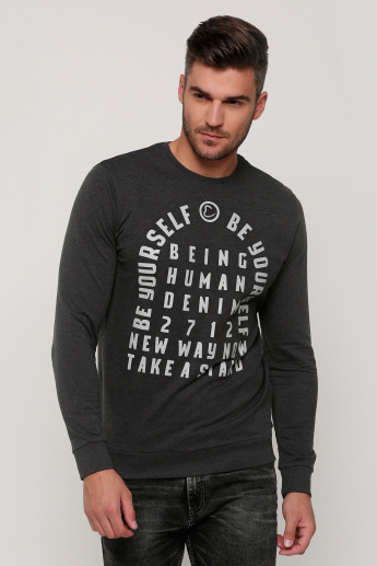 1b521a44 Being Human Printed Round Neck T-Shirt with Long Sleeves | Grey