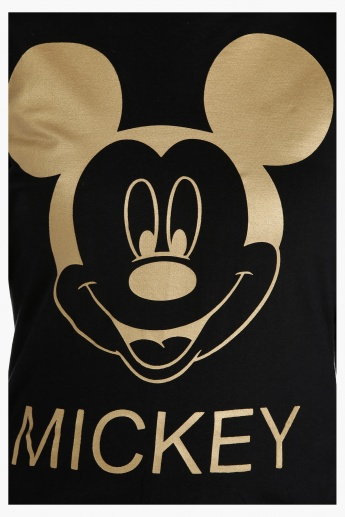 Mickey Mouse Printed Sweatshirt with Short Sleeves