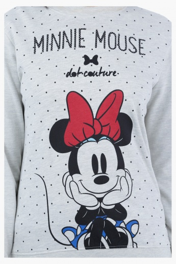 Minni Mouse Printed Sweatshirt with Long Sleeves