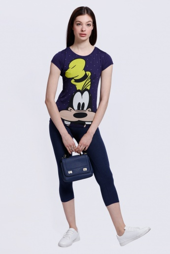 Goofy Print T-Shirt with Short Sleeves