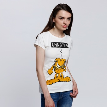 Garfield Printed T-Shirt with Round Neck and Short Sleeves