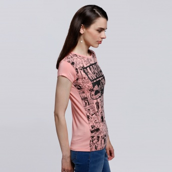 Spider-Man Printed Round Neck T-Shirt with Short Sleeves