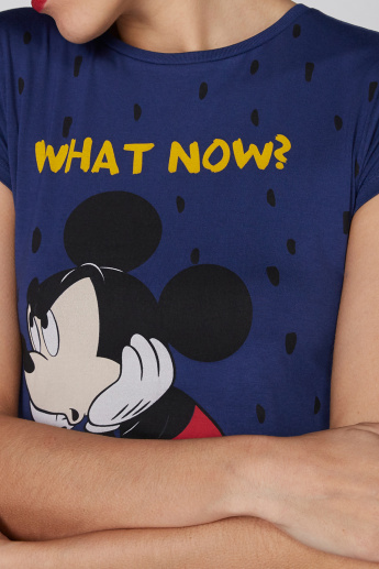 Mickey Mouse Printed T-Shirt with Round Neck and Cap Sleeves