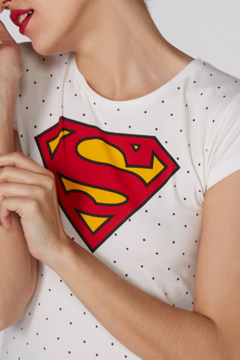 Superman Printed T-Shirt with Round Neck and Cap Sleeves