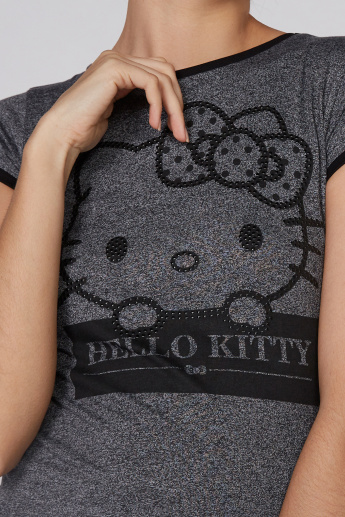 Hello Kitty Printed T-Shirt with Round Neck and Cap Sleeves