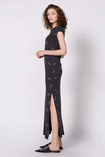 Wonder Woman Maxi Dress with Round Neck and Cap Sleeves