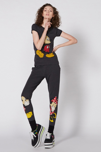 Mickey Mouse Minnie Mouse Printed Full Length Pants with Pocket Detail