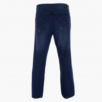 3f4f1c17c24 Full Length Denim Pants with Button Closure