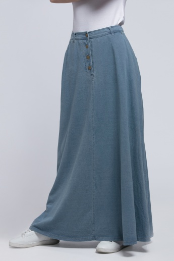 Full Length Maxi Skirt with Button Closure