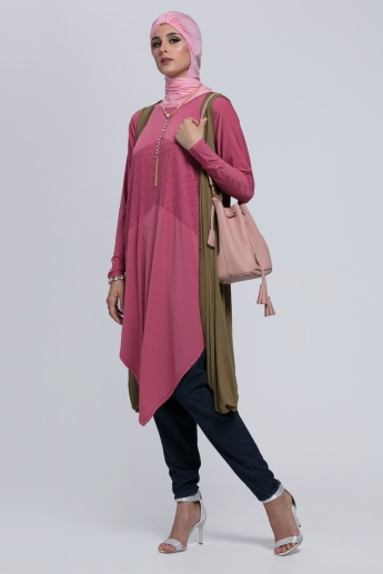 Sleeveless Long Shrug with Open Front