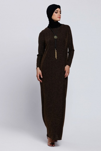 Long Sleeves Maxi Dress with Round Neck
